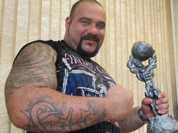 Marcos Mohai, vereador e hexa campeão de Strongman, que dá o título ao homem mais forte do Brasil (Foto: Mariane Rossi/G1)