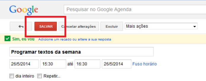 Salvando as alterações do evento na Agenda do Google (Foto: Reprodução/Lívia Dâmaso)