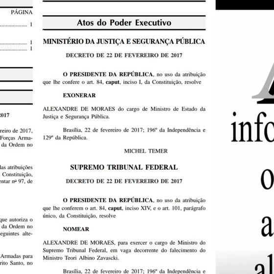 Planalto solta edição extra do Diário Oficial com a nomeação de Alexandre de Moraes ao STF (Foto: Reprodução)