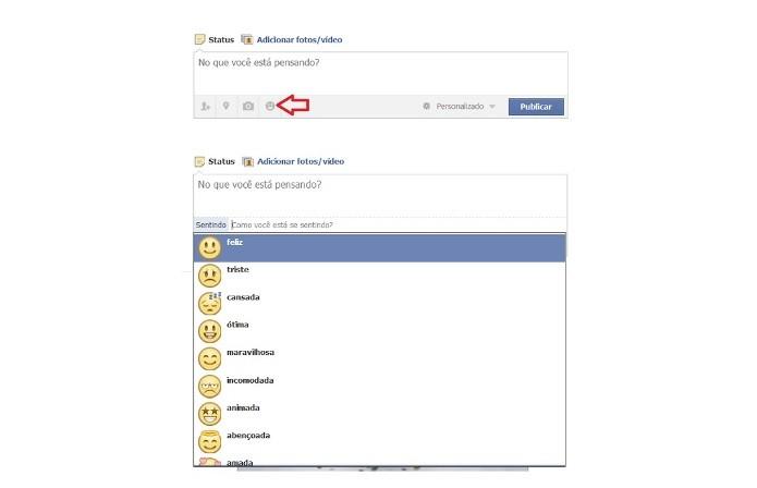 A rede social permite a inserção de emoticons na atualização de status (Foto: Reprodução/Lívia Dâmaso)