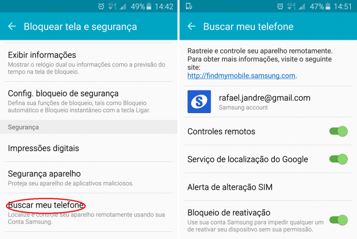 O serviço Find My Mobile vem desabilitado por padrão (Foto:TechTudo/Rafael Jandre)
