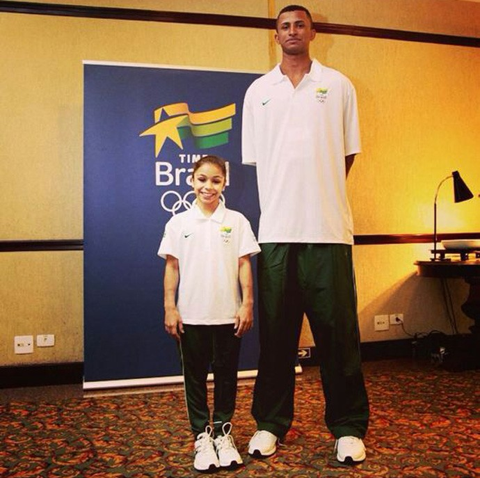 ginasta Flávia Lopes Saraiva basquete Gabriel Jonathan (Foto: Reprodução)