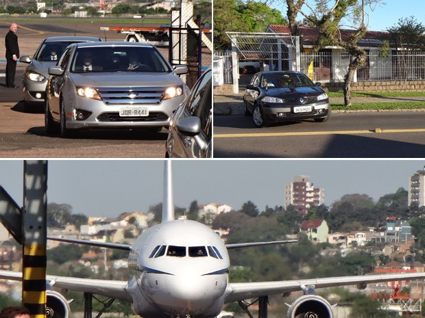 Presidente Dilma Rousseff chega a Porto Alegre (Foto: Montagem sobre fotos Caetanno Freitas/G1)