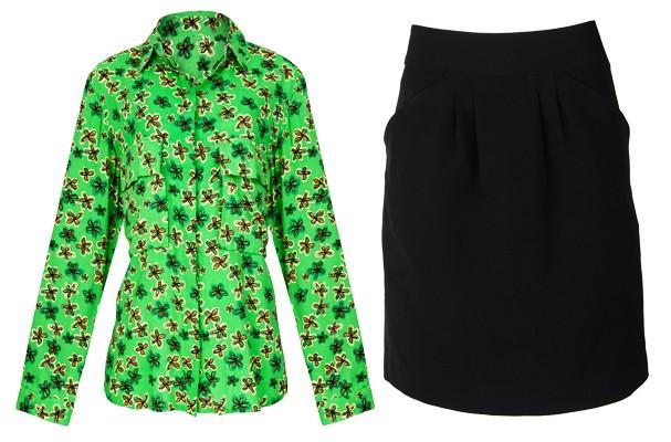 Da esquerda para direita: camisa estampada (R$ 69,90) e saia tulipa (R$ 59,90) (Foto: Gabriel Cappelletti)
