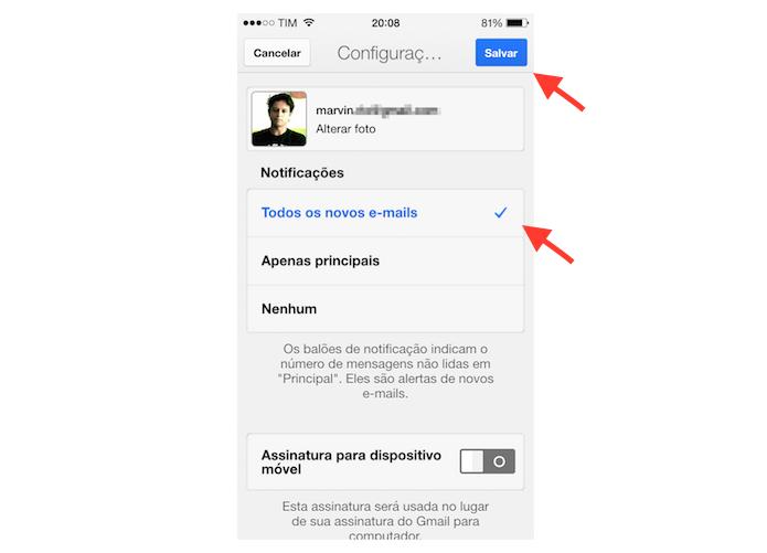 Ativando as notificações de e-mail no Gmail para iPhone (Foto: Reprodução/Marvin Costa)