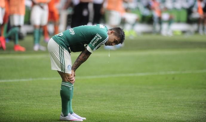 Dudu passa mal durante jogo do Palmeiras (Foto: Marcos Ribolli)