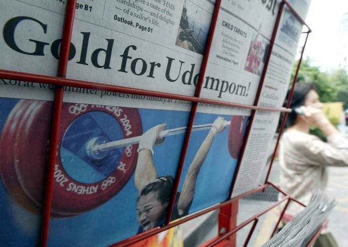 Udomporn Polsak levantamento de peso tailândia atenas 2004 (Foto: AFP)