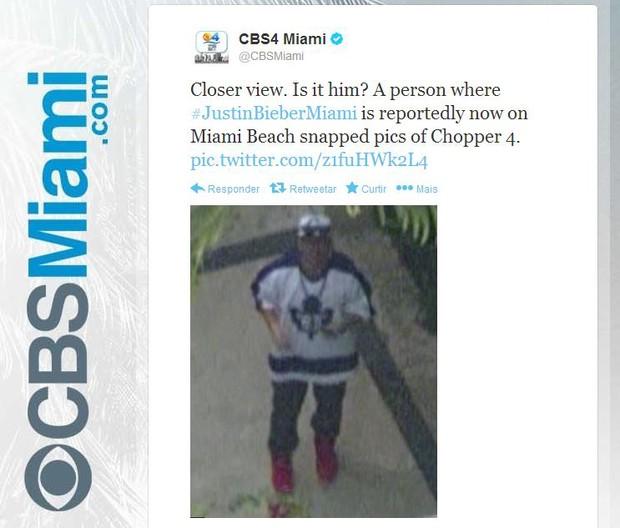 Repórter da CBS Miami posta foto de Justin Bieber (Foto: Twitter / Reprodução)
