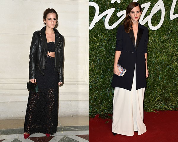 As cores sóbrias aparecem com frequência nos looks de Emma Watson (Foto: Getty Images)