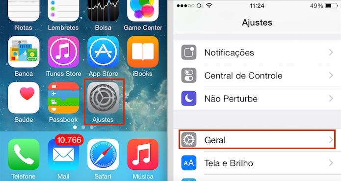 Acessando a opção Geral nos Ajustes do iOS (Foto: reprodução/Edivaldo Brito)