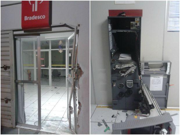 Suspeitos arrombaram porta e explodiram caixa eletrônico (Foto: Polícia Militar/ Divulgação)