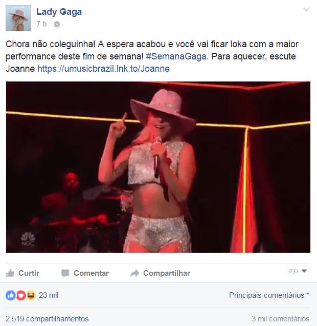 Perfis de Lady Gaga, Simone e Simaria interagem (Foto: Reprodução/Facebook)