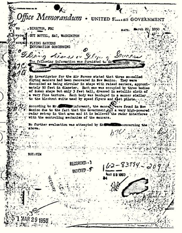 Documento foi enviado ao diretor da polícia federal dos EUA em 1950. (Foto: AP)