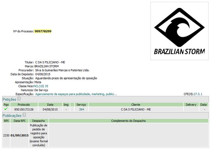 Registro da marca Brazilian Storm no site do INPI (Foto: Reprodução / INPI)