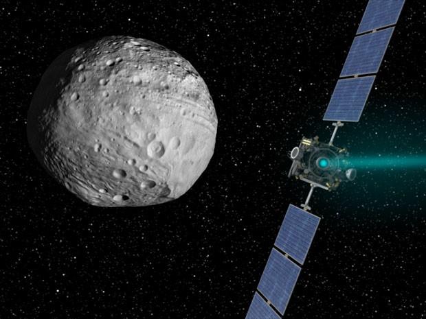 Ilustração da Dawn chegando a Vesta (Foto: Nasa/JPL-Caltech)