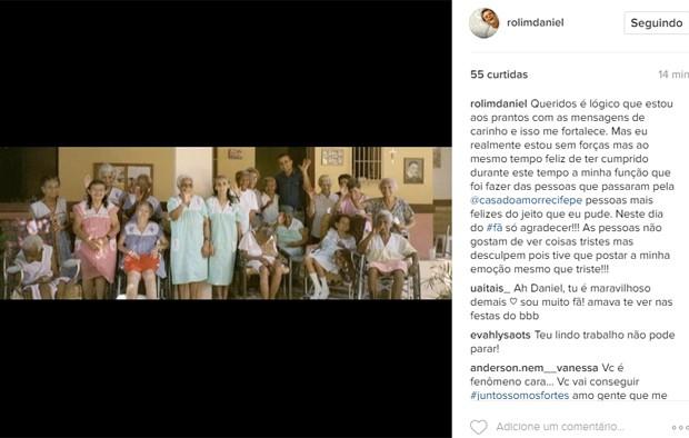 Daniel Rolim faz post emocionante sobre possível fim de lar de idosos em Recife (Foto: Reprodução/Instagram)