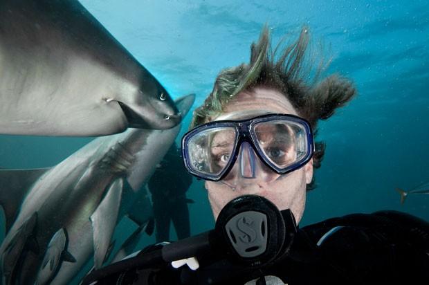 Fotógrafo fez selfie com tubarões durante mergulho na África do Sul (Foto: Aaron Gekoski/Caters News/Grosby Group)