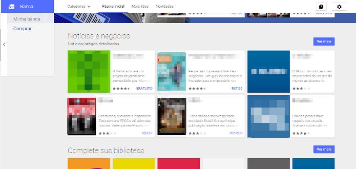 A Banca do Google Play oferece diversas publicações gratuitas (Foto: Reprodução/Lívia Dâmaso)