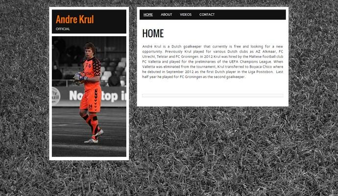 Página do site oficial do goleiro holandês Andre Krul, do União Barbarense (Foto: Reprodução)