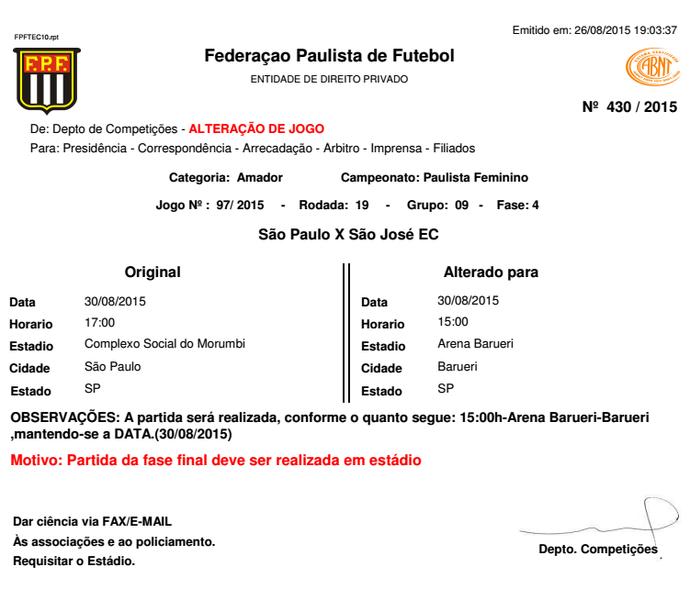 alteração final Paulista feminino (Foto: Reprodução/ FPF)