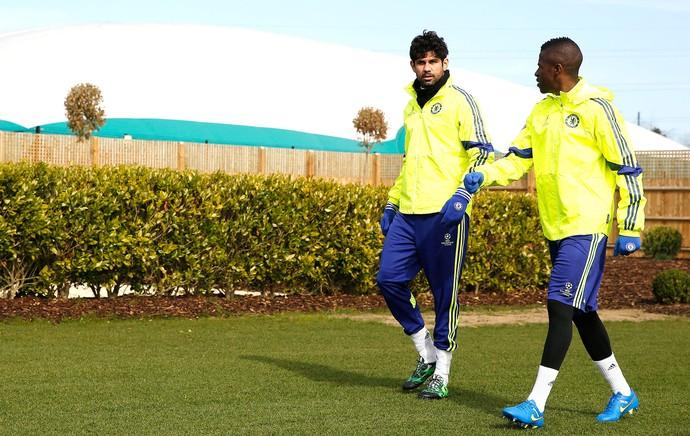 Diego Costa e Ramires Treino Chelsea (Foto: Agência Reutes)