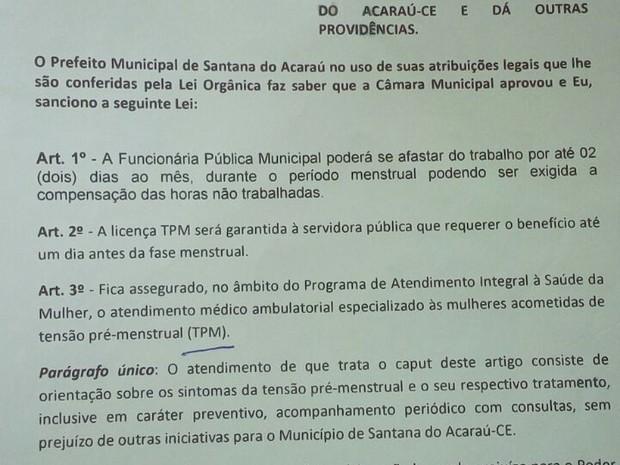 Projeto de Lei deve ser votado na próxima sessão ordinária da Câmara de SAntana do Acaraú (Foto: Divulgação)