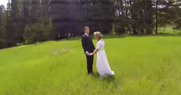 Drone cai quando filmava cena romântica em casamento (Foto: Reprodução/YouTube)