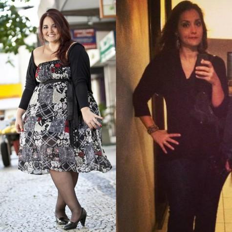 Renata Celidônio antes e depois de perder 64kg (Foto: Simone Marinho e Reprodução)