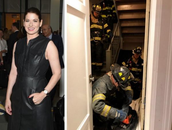 A atriz Debra Messing e os bombeiros em seu apartamento em Nova York (Foto: Getty Images/Instagram)