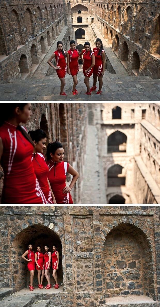 Grid Girls do GP da Índia de Fórmula 1 fazem ensaio fotográfico em Agrasen ki Baoli, na capital Nova Déli (Foto: AFP)