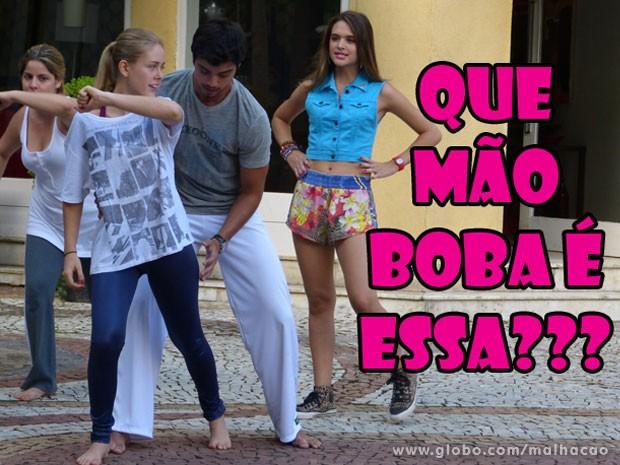 IIIIIIIIIIIIIHHHH, Brunão! A Fatinha vai dar o maior flagra no ex! Mas será que a Fatinha tá viajando? (Foto: Malhação / Tv Globo)
