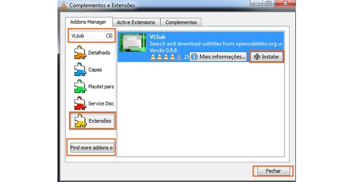 Encontre o VLSub nas opções e instale (Foto: Reprodução/Barbara Mannara)