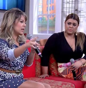 Madrinha, Preta entrega Fê e Thiaguinho (Encontro com Fátima Bernardes/TV Globo)