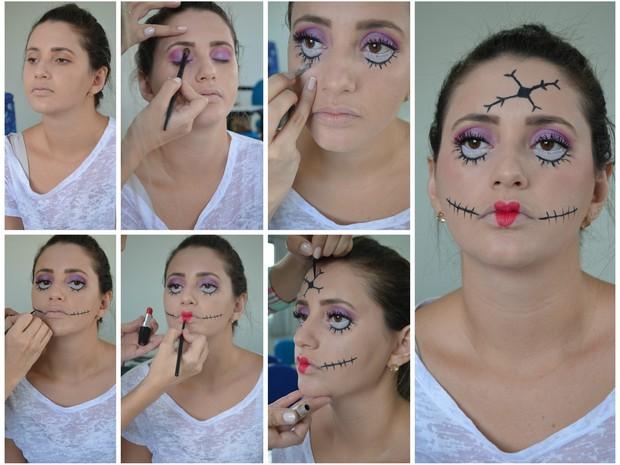 Passo a passo maquiagem Boneca Quebrada (Foto: Valéria Oliveira/ G1)