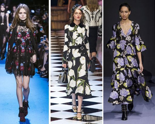 Elie Saab, Dolce&Gabbana e Temperley London investiram no fundo preto (Foto: Imaxtree)