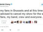 Mariah Carey cancela show em Bruxelas por motivos de segurança