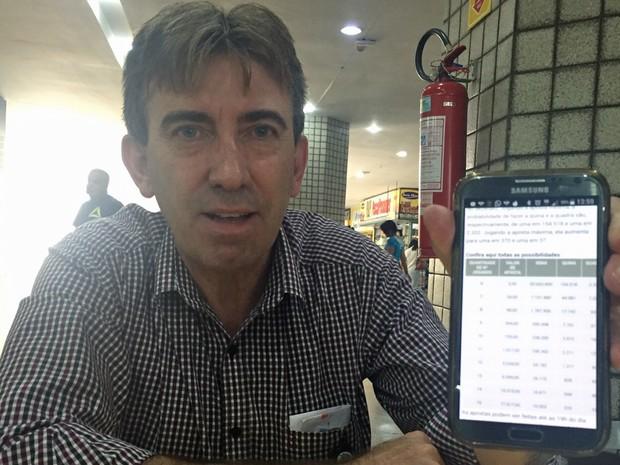 Funcionário da Caixa Econômica, Carlos Schneider, aposta na Mega-Sena sempre utilizando as probabilidades (Foto: Jéssica Nascimento/G1)
