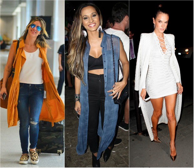 As brasileiras Giovanna Ewbank, Thaíssa Carvalho e Alessandra Ambrósio já aderiram a moda dos maxicoletes e maxicasacos (Foto: Ag.News/PhotoRio/Ego)