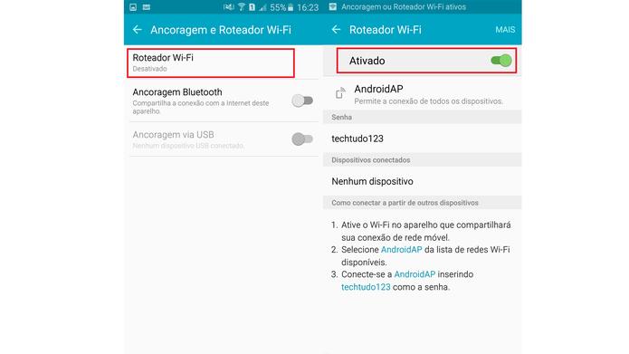 Ativando o compartilhamento de internet no Galaxy A7 2016 (Foto: Reprodução/Ana Marques)