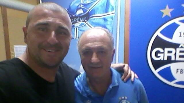 Luciano Quadros, técnico do Linense, e Felipão, do Grêmio (Foto: Divulgação / CA Linense)