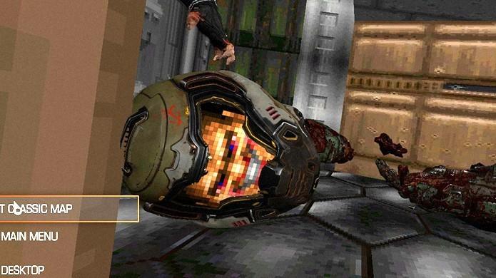 Rosto do Doom Guy clássico pode ser visto ao morrer dentro dos corredores nostálgicos do novo Doom (Foto: Reprodução/GameRanx)