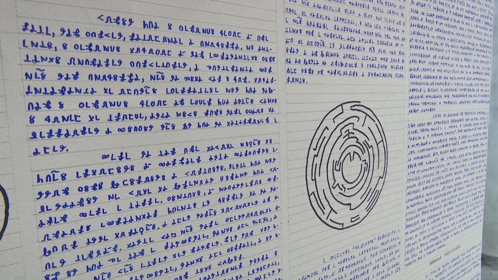 Alguns dos livros foram escritos nas paredes, teto e chão (Foto: Reprodução/Rede Amazônica Acre)