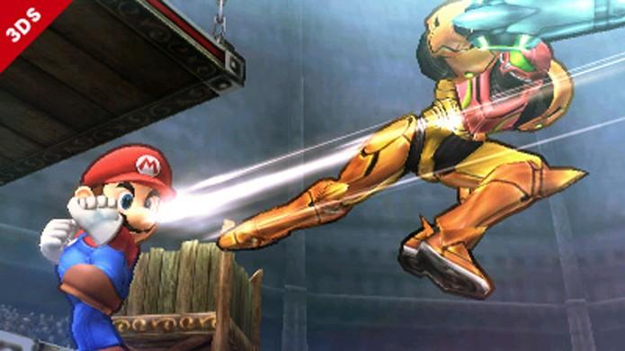 Seu objetivo não é apenas causar dano, mas arremessar seu oponente para longe (Foto: Nintendo 3DS Connect)