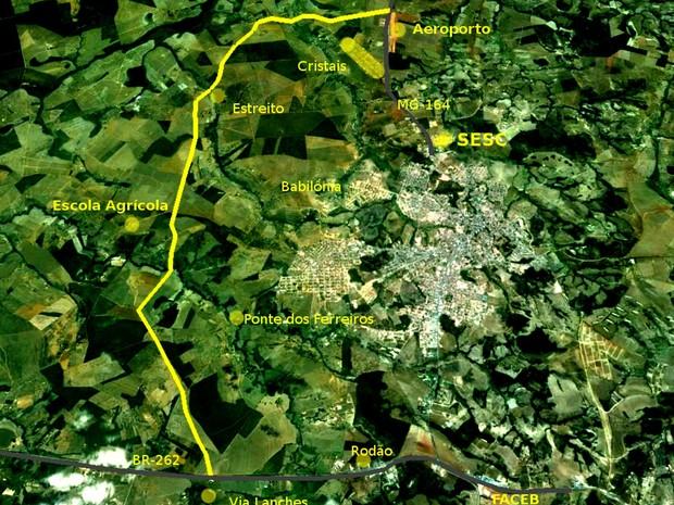 Mapa do Corredor Empresarial em Bom Despacho (Foto: PMBD/Divulgação)