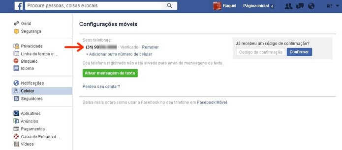 Facebook com número de celular adicionado e verificado (Foto: Reprodução/Raquel Freire)