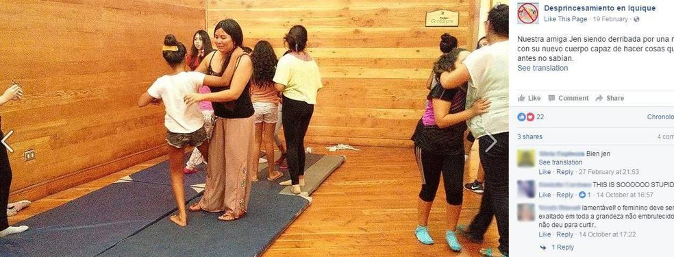 Oficina de desprincesamento em Iquique, norte do Chile, oferece aulas de autodefesa (Foto: Reprodução/ Facebook)