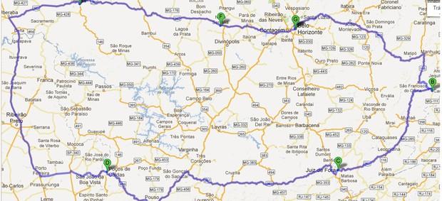 Mapa com as cidades do GE na Estrada (Foto: Reprodução / Google Maps)