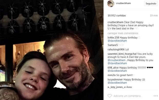 Cruz Beckham e David Beckham (Foto: Reprodução)