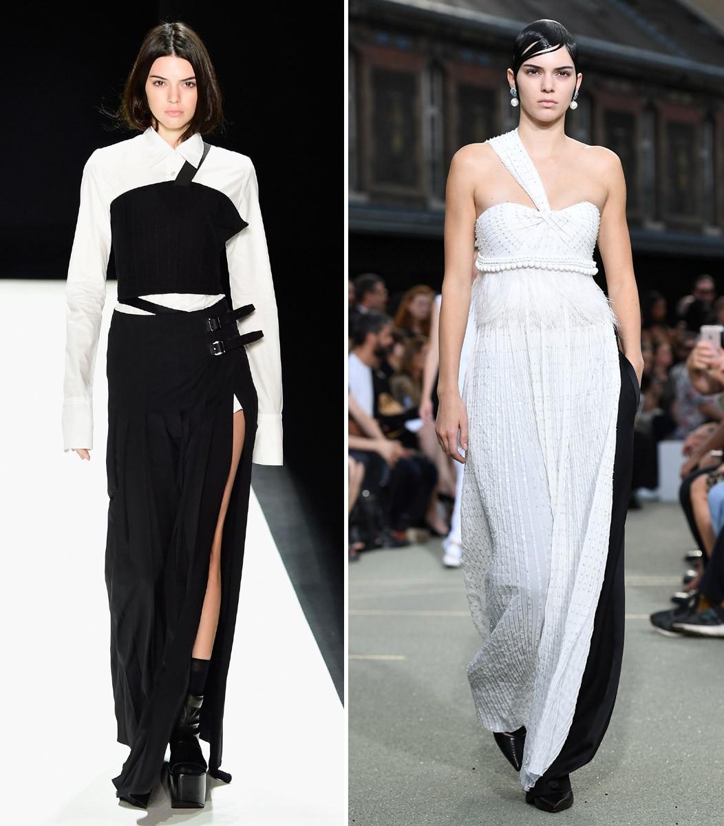 Entradas p&b na Vera Wang (inverno 2016) e Givenchy (alta costura inverno 2016) (Foto: Getty Images)