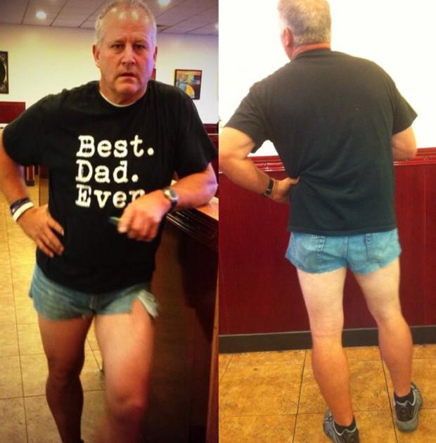 Scott Mackintosh ficou incomodado com o comprimento do shorts da filha e, para 'puni-la', fabricou sua própria 'roupa reveladora' (Foto: Reprodução/Tumblr/Dadshortshorts)